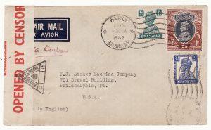 INDIA - USA… WW2 CENSORED AIRMAIL via HORSESHOE  ..
