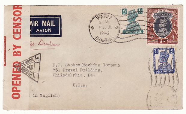 [18955]  INDIA - USA… WW2 CENSORED AIRMAIL via HORSESHOE ..  1942 (Jan 10)