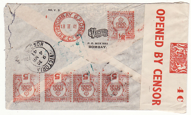 [18956]  INDIA - USA… WW2 CENSORED AIRMAIL AV2 with METER CANCELS..  1941 (Feb 18)