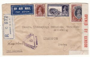 INDIA - SWEDEN… WW2 CENSORED REGISTERED AIRMAIL  ..