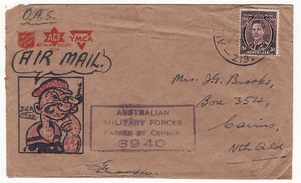 [19063]  PAPUA & NEW GUINEA - AUSTRALIA….WW2 HAND DRAWN CARTOON CHARACTER…  1944 (Jun 19)