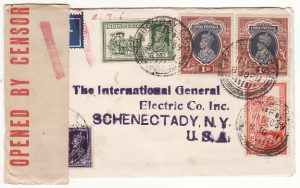 INDIA - USA… WW2 CENSORED DOUBLE RATE AIRMAIL ..