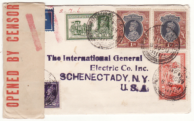 [18958]  INDIA - USA… WW2 CENSORED DOUBLE RATE AIRMAIL ..  1939 (Dec 11)
