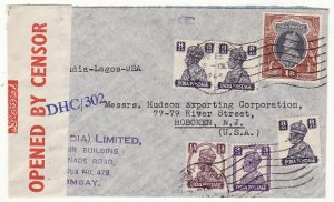 INDIA - USA… WW2 CENSORED TRANS-AFRICA AIRMAIL..