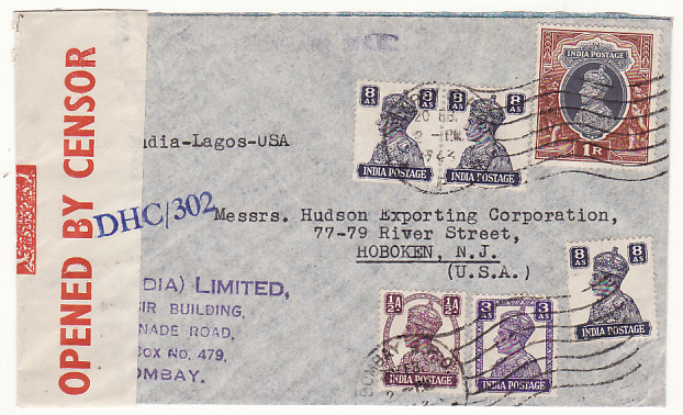 [18959]  INDIA - USA… WW2 CENSORED TRANS-AFRICA AIRMAIL..  1943 (Feb 20)
