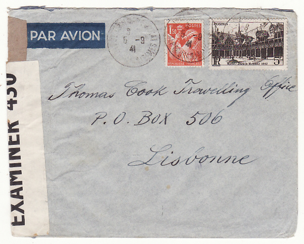 [18980]  FRANCE - PORTUGAL - GB….THOMAS COOK BOX 506…  1941 (Sep 5)