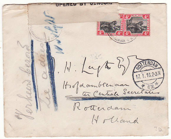 [19380]  MALAYA - HOLLAND … WW1 STRAITS SETTLEMENT CENSOR...  1915 (Dec)