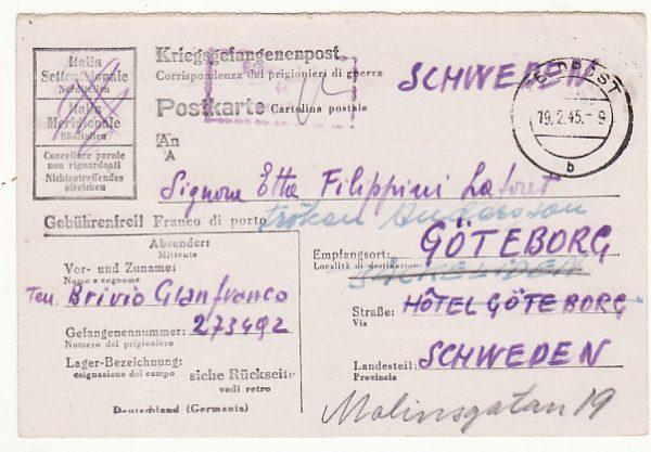 GERMANY - SWEDEN…WW2 POW STATIONARY....