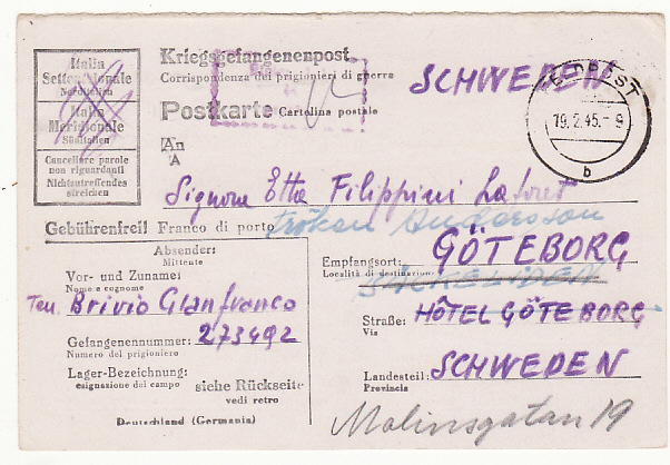 [19246]  GERMANY - SWEDEN…WW2 POW STATIONARY....  1944 (Jan 21)