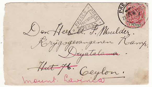 [18990]  SOUTH AFRICA - CEYLON….BOER WAR POW MOUNT LAVINIA….  1901 (Dec 29)