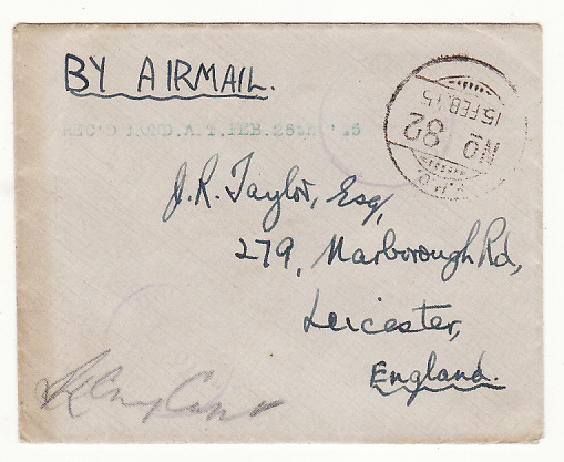 [19008]  BURMA - GB …WW2 LETTER WRITTEN on AIRGRAPH from A/G CONTROLLERS OFFICE .…  1945 (Feb 14)