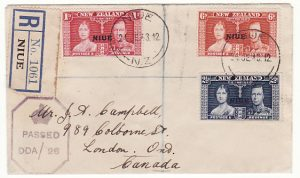 NIUE - CANADA…WW2 REGISTERED CENSORED from N.Z. DEPENDENCY ...