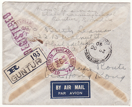 [19272]  INDIA - USA..1940 REGISTERED CENSORED AIRMAIL via HONG KONG….  1940 (Oct 14 )