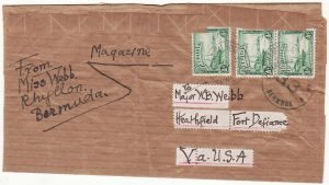 BERMUDA - USA...WW2-CENSORED WRAPPER..