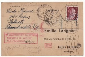 POLAND - PORTUGAL…WW2 GENERAL GOVERNMENT UNDERCOVER MAIL…