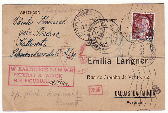 [19320]  POLAND - PORTUGAL…WW2 GENERAL GOVERNMENT UNDERCOVER MAIL…  1944 (Jun 27)