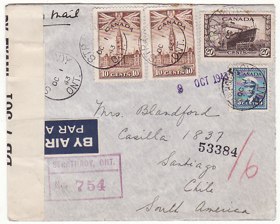 [19324]  CANADA - CHILE…WW2 CENSORED REGISTERED AIRMAIL…  1943 (Oct 1)