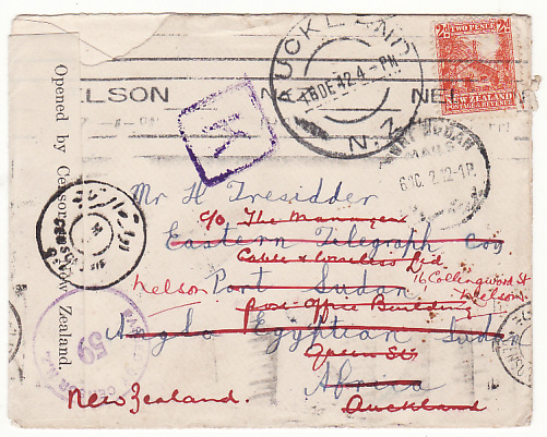 [19124]  NEW ZEALAND - SUDAN…WW2 TRIPLE CENSORED with TPO & RETURNED...  1942 (Dec)