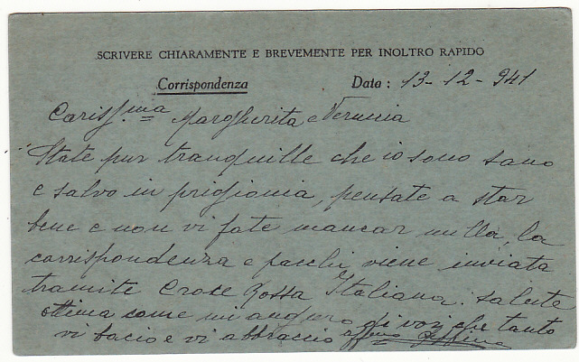 [19237]  SUDAN - TRIESTE…WW2 NOTIFICATION of CAPTURE from ITALIAN POW .....  1941 (Dec 13)
