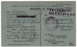 SUDAN - TRIESTE…WW2 NOTIFICATION of CAPTURE from ITALIAN POW  .....