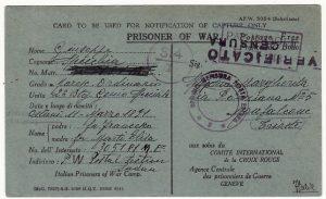 SUDAN - TRIESTE…WW2 NOTIFICATION of CAPTURE from ITALIAN POW  .....