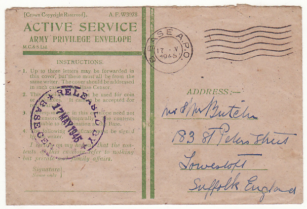 [19363]  GREAT BRITAIN…WW2 HONOUR ENVELOPE cancelled in BRUSSELS…  1945 (May 17)