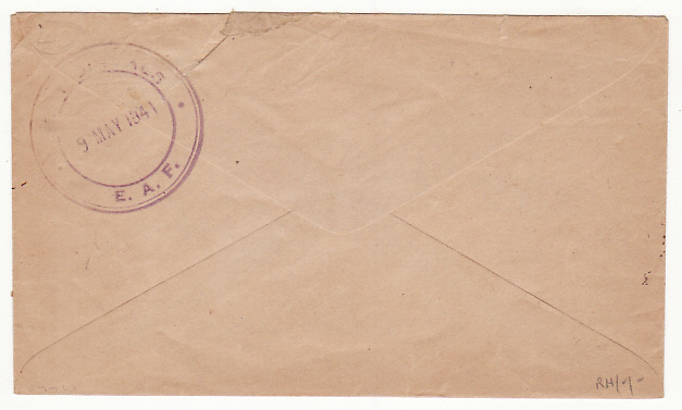 [19341]  KENYA…WW2 SOUTH AFRICA OHMS PENALTY ENVELOPE via D.R.L.S. to R.T.O...   1941 (May 9)