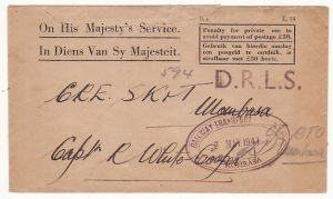 KENYA…WW2 SOUTH AFRICA OHMS PENALTY ENVELOPE via D.R.L.S. to R.T.O...