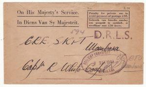 KENYA…WW2 SOUTH AFRICA OHMS PENALTY ENVELOPE via D.R.L.S. to R.T.O...