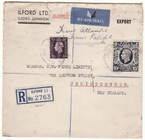 GB - NEW ZEALAND…WW2 REGISTERED 2 OCEAN AIR MAILwith 10/- DARK BLUE…