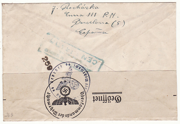 [19195]  SPAIN - BOHEMIA…WW2 REGISTERED CENSORED AIRMAIL…  1941 (Jan 11)
