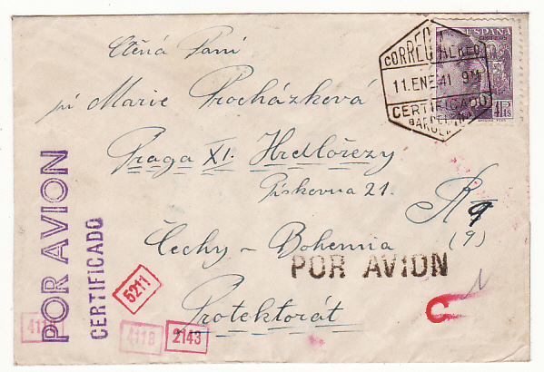 SPAIN - BOHEMIA…WW2 REGISTERED CENSORED AIRMAIL…