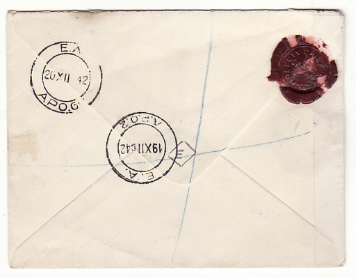 [18760]  KENYA - GB …WW2 REGISTERED & OPENED by BASE CENSOR & with WAX SEAL.....  1942 (Dec 19)