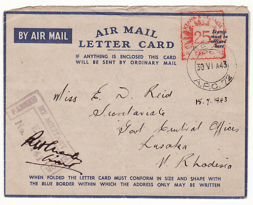 [18761]  KENYA - RHODESIA …WW2 A.M.L.C. with 25c METER HANDSTAMP.....  1943 (Jun 30)