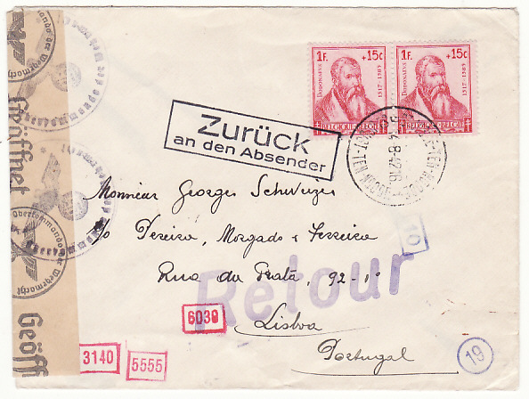 BELGIUM - PORTUGAL…WW2 RETURNED TO SENDER…