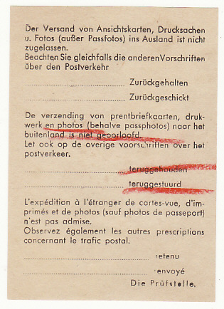 [19216]  BELGIUM - GERMANY…WW2 RETURNED TO SENDER with ENCLOSURE…  1942 (Feb 28)