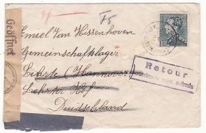 BELGIUM - GERMANY…WW2 RETURNED TO SENDER with ENCLOSURE…