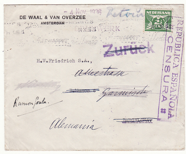 [19222]  NETHERLANDS - SPAIN…SPANISH CIVIL WAR forwarded to GERMANY & RETURNED TO SENDER…  1936 (Oct 14)