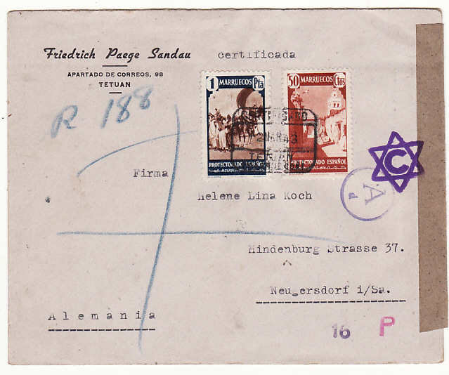 [19253]  SPANISH MOROCCO - GERMANY…WW2 REGISTERED CENSORED .....  1943 (Mar 2)