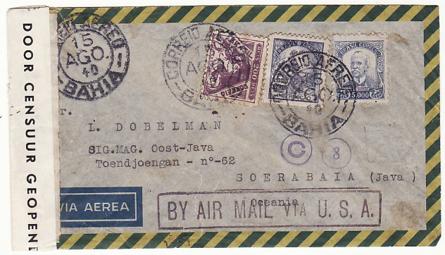 [19269]  BRAZIL - NED EAST INDIES..1940 TRIPLE CENSORED SINGAPORE, HONG KONG & N.E.I….  1940 (Aug 15)