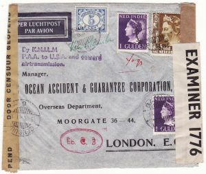 NED. EAST INDIES - GB…WW2 1941 DOUBLE CENSORED TWO OCEAN AIRMAIL…
