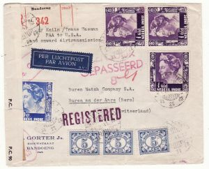 NED. EAST INDIES - SWITZERLAND…WW2 1941 DOUBLE CENSORED TWO OCEAN REGISTERED AIRMAIL…