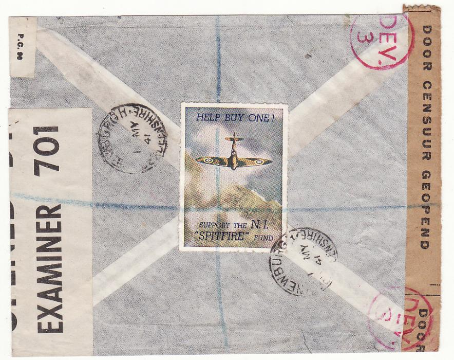 [19199] NED. EAST INDIES - GB…WW2 1941 DOUBLE CENSORED REGISTERED AIRMAIL with SPITFIRE LABEL…  1941 (Mar 8)
