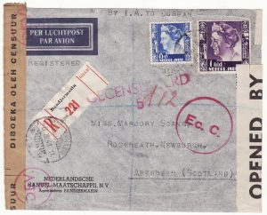 NED. EAST INDIES - GB…WW2 1941 DOUBLE CENSORED REGISTERED AIRMAIL with SPITFIRE LABEL