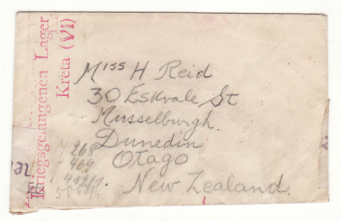 [19290]  CRETE - NEW ZEALAND…...WW2 N.Z. POW HELD on CRETE..  1941 Miniature 107 x 65 mm stampless envelope to Otago, N.Z. from Spr. H.J. Smaill 32232 with red unframed Kreigsgefangenen Lager /Kreta (V1)