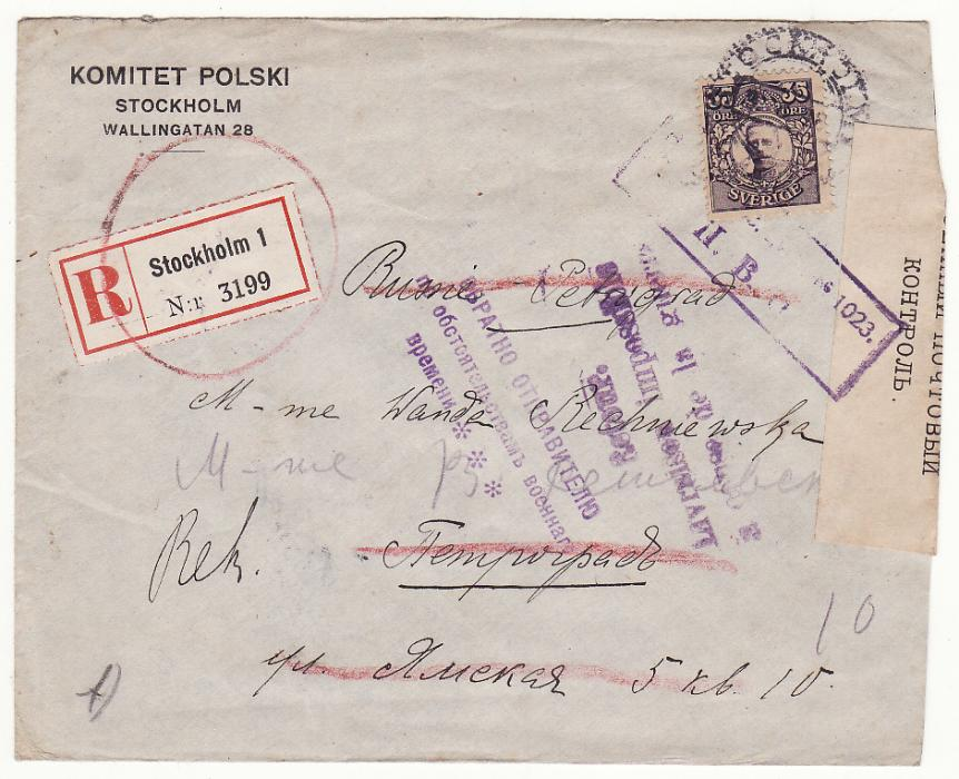 [19394]  SWEDEN - RUSSIA …RETURN TO SENDER DUE TO WAR CONDITIONS..  1918 (Aug 9)