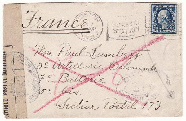 USA - FRANCE ….WW1 CANNOT REACH DESTINATION...