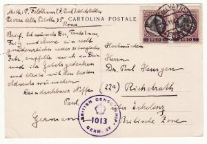 VATICAN - GERMANY…POST WW2 ALLIED CENSORSHIP ....