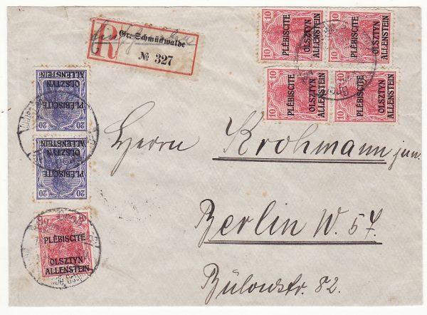 GERMANY…1920 ALLENSTEIN PLEBISCITE REGISTERED MAIL…