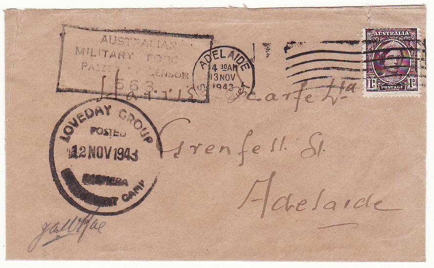 [19530]  AUSTRALIA…WW2 LOVEDAY INTERNMENT CAMP…  1943 (Nov 12)